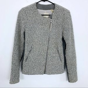 Rebecca Taylor Gray Boucle Fitted Zip Jacket